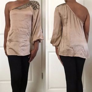 Bebe One Sleeve Beaded Silk Gold Blouse